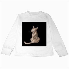 Brown abstract cat Kids Long Sleeve T-Shirts