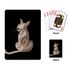 Brown abstract cat Playing Card