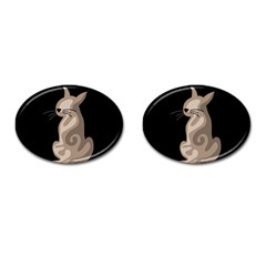 Brown abstract cat Cufflinks (Oval)