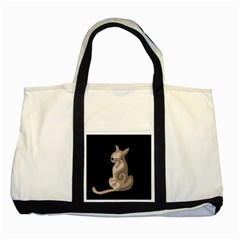 Brown abstract cat Two Tone Tote Bag