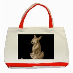 Brown Abstract Cat Classic Tote Bag (red)