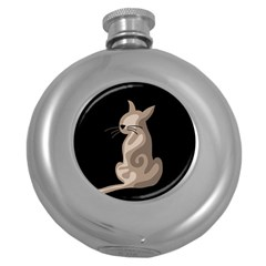 Brown abstract cat Round Hip Flask (5 oz)