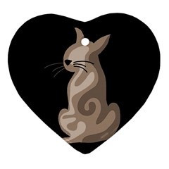 Brown abstract cat Heart Ornament (2 Sides)