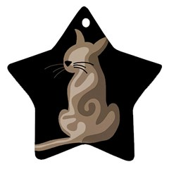 Brown abstract cat Star Ornament (Two Sides)