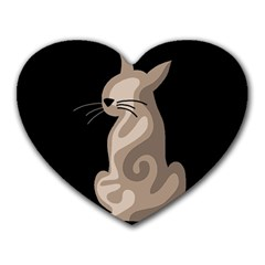 Brown abstract cat Heart Mousepads