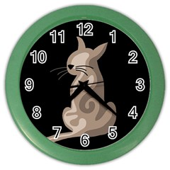 Brown abstract cat Color Wall Clocks