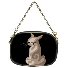Brown Abstract Cat Chain Purses (one Side)