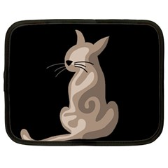 Brown abstract cat Netbook Case (XL)