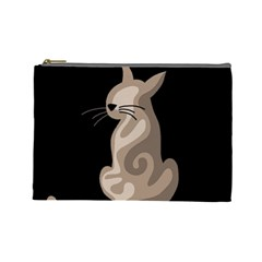 Brown abstract cat Cosmetic Bag (Large)
