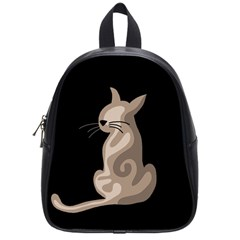 Brown abstract cat School Bags (Small)