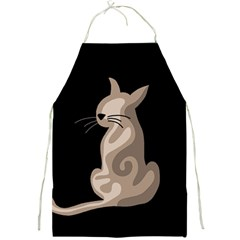 Brown abstract cat Full Print Aprons