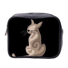 Brown abstract cat Mini Toiletries Bag 2-Side