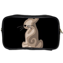 Brown abstract cat Toiletries Bags