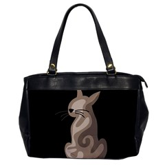 Brown abstract cat Office Handbags