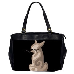 Brown abstract cat Office Handbags (2 Sides)
