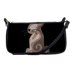 Brown abstract cat Shoulder Clutch Bags