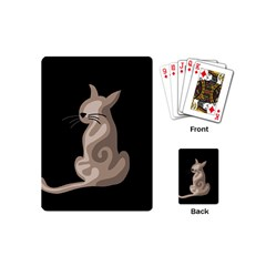 Brown abstract cat Playing Cards (Mini)