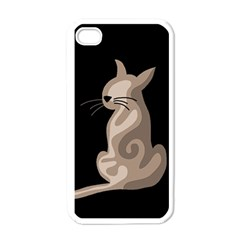 Brown abstract cat Apple iPhone 4 Case (White)