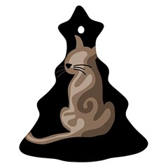 Brown abstract cat Christmas Tree Ornament (2 Sides)
