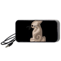 Brown abstract cat Portable Speaker (Black)