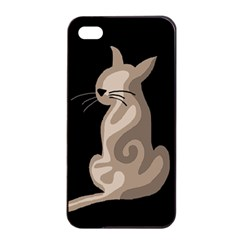 Brown abstract cat Apple iPhone 4/4s Seamless Case (Black)