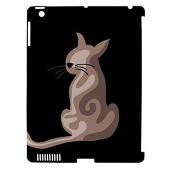 Brown abstract cat Apple iPad 3/4 Hardshell Case (Compatible with Smart Cover)