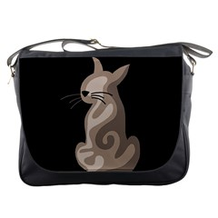 Brown abstract cat Messenger Bags