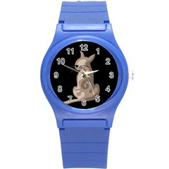 Brown abstract cat Round Plastic Sport Watch (S)