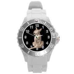 Brown abstract cat Round Plastic Sport Watch (L)