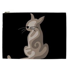 Brown abstract cat Cosmetic Bag (XXL)