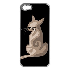Brown abstract cat Apple iPhone 5 Case (Silver)