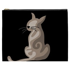 Brown abstract cat Cosmetic Bag (XXXL)