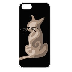 Brown abstract cat Apple iPhone 5 Seamless Case (White)