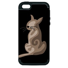 Brown abstract cat Apple iPhone 5 Hardshell Case (PC+Silicone)