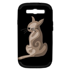 Brown abstract cat Samsung Galaxy S III Hardshell Case (PC+Silicone)