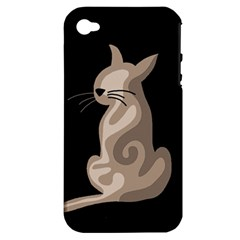 Brown abstract cat Apple iPhone 4/4S Hardshell Case (PC+Silicone)