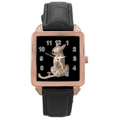Brown abstract cat Rose Gold Leather Watch