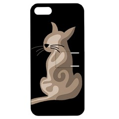 Brown abstract cat Apple iPhone 5 Hardshell Case with Stand