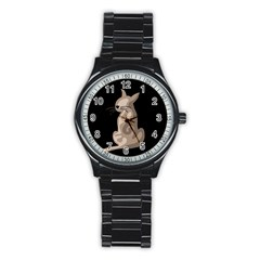 Brown abstract cat Stainless Steel Round Watch