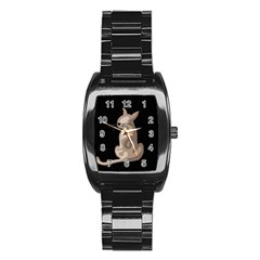Brown abstract cat Stainless Steel Barrel Watch