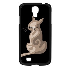 Brown abstract cat Samsung Galaxy S4 I9500/ I9505 Case (Black)