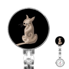 Brown abstract cat Stainless Steel Nurses Watch