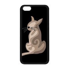 Brown abstract cat Apple iPhone 5C Seamless Case (Black)