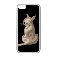 Brown abstract cat Apple iPhone 5C Seamless Case (White)