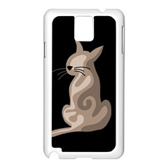Brown abstract cat Samsung Galaxy Note 3 N9005 Case (White)