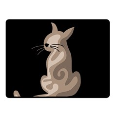 Brown abstract cat Double Sided Fleece Blanket (Small)
