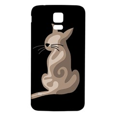 Brown abstract cat Samsung Galaxy S5 Back Case (White)