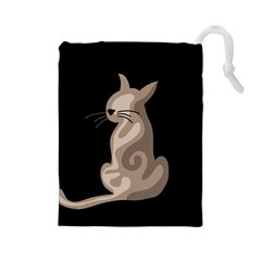 Brown abstract cat Drawstring Pouches (Large)