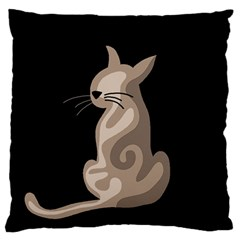 Brown abstract cat Large Flano Cushion Case (Two Sides)