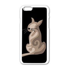Brown abstract cat Apple iPhone 6/6S White Enamel Case